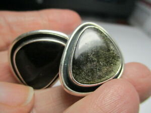STERLING SILVER 925 ESTATE DESIGNER BLACK OBSIDIAN CLIP ON 1 INCH EARRINGS