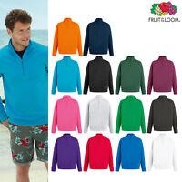 Fruit of The Loom Lightweight Zip Neck Sweatshirt -Fleece/Plain casaul top S-2XL
