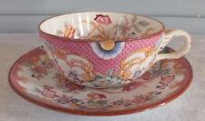 Minton Sarreguemines tasse sous tasse porcelaine fleurs décor 216 cup