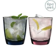 Glass Drinking Tumblers Pulsar Coloured Faceted Glasses, 300ml - x6