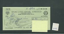 wbc. - CHEQUE - CH1195- USED -1967- BARCLAYS BANK, GOLDERS GREEN, LONDON NW11