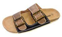 Öko Walk Luftpolster Schuhe Pantolette Sandale Bio Tieffußbett braun 030-135