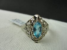 14k White Gold Ring w Topaz? Beautiful Blue gem - Sz 8 - Total weight 2.7 gr