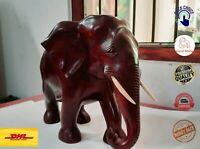 "Wood WILD Elephant Sculpture Vintage Wooden Figurine Lucky Statue Hand Craft 12"""