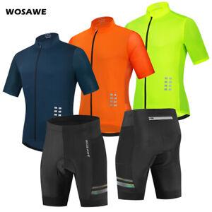 2021 Mens Cycling Sets Hi Vis Reflective Full Zipper Jersey Gel Padded Shorts