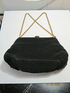 Vintage Glass Beaded Bag by Josef  Brass Hinged Black Bag    Made in France