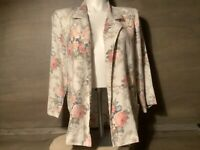 Joanna WOMENS OPEN FRONT JACKET BLAZER CARDIGAN SIZE LARGE POCKETS LONG SLEEVES