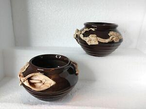 Ceramic Vases Set Of 2 Alcatraz Flower And Vines Brown Beige Color
