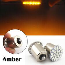 2x T20 1156 BA15S Amber 22SMD LED Bulb Car Turn Signal Light Tail Light Fog Lamp