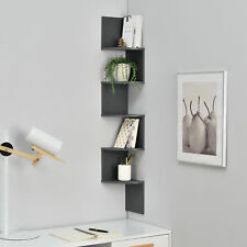 [en.casa] Mensola Pensile Scaffale Angolare Biblioteca Zig Zag Design Grigio