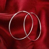 925 Sterling Silver Filled 5cm Simple Round Plain Hoop Huggie Earrings Stunning