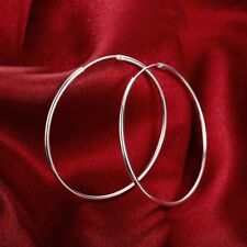 925 Sterling Silver Filled 5cm Simple Round Plain Hoop Huggie Earrings Stunning