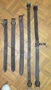 5 PC TACK LOT: 2 LEATHER BACK CINCHES, 3 LEATHER REAR BILLETS~USED WESTERN TACK