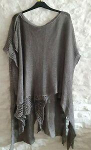 ZUZA BART art to wear XL Grey Linen Lagenlook Over Top boucle knit