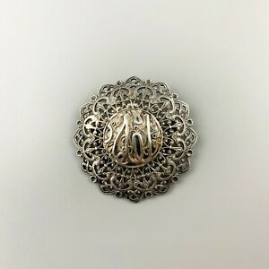 Antique Moroccan Silver Lace Filigree Round Brooch Pin, Islamic Calligraphy