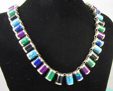 Onyx Cii Mexico Wide Necklace Estate Vintage Sterling Silver Sugilite Turquoise