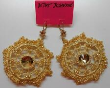 Betsey Johnson Patina Crochet Gold Tone Drop Leverback Earrings MSRP $85 1/2 off