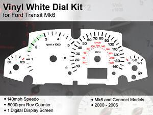 Ford Transit Mk6 Connect (2000 - 2006) 1 x DIGI - 140mph - Vinyl White Dial Kit