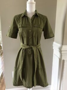 New J Crew Ruffle-hem Utility Dress Olive Green Sz 4 G8471 Sample Item