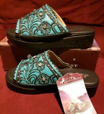 MONTANA WEST SH-016 Sz 7 Black Turquoise Embroidery Silver Crystal Studs Sandals