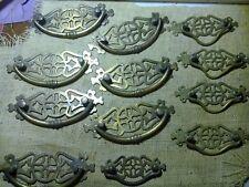 brass handles, set of 11, pierced brass, Edwardian, reclaimed