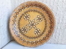 "9"" Antique Vintage hand painted WOODEN plate dish floral flowers WALL ART"