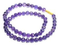150.40 CT NATURAL AMETHYST 1 ROW 17.5 INCHES NECKLACE ASTROLOGICAL @ RARE PRICE
