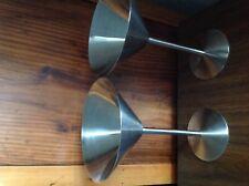STAINLESS STEEL MARTINI COCKTAIL DESSERT GLASSES SET OF 2