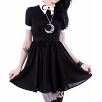 Gothic Retro Girl Crescent Moon Embroidered Black Pointed Collared Blouse Dress