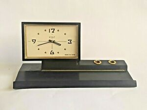 Vintage Desk Table Clock Mechanical Soviet USSR Agat Russian Stand Pen Retro VTG