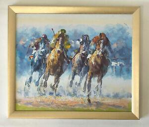 Framed Horse Racing Oil Painting 68cm x 58cm