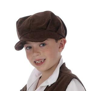 Boys Pauper Oliver Hat Urchin Childs Brown Victorian Flat Cap Chimney Sweep