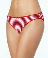 Charter Club Womens Pretty Cotton Bikini Red Lurex Stripe