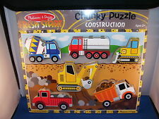 Childrens Puzzle 6 piece Chunky Construction Cars 2 and up Melissa and Doug 6