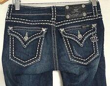 Miss Me Womens Boot Cut Jeans Sz 26 Dark Denim JP5014-4 Flap Pockets Low Rise