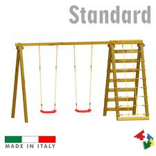 Altalena Gioco in legno per bambini da giardino con sartia Composizione 1Stand.