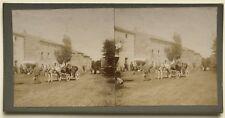 Scène dans un village Carriole France Photo Stereo Vintage Citrate c1900