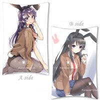 Anime Seishun Buta Yarou Futaba rio Dakimakura Bed Throw Pillow Case 35x55cm