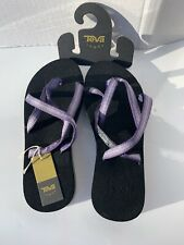 TEVA Women's Sz 6 PIntado Purple Black OLOWAHU Sandals Flip Flop shoes NEW NWT