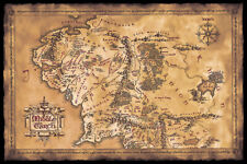 The Lord Of The Rings / The Hobbit - Movie Poster (Dark Map Of Middle Earth)