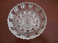 VINTAGE CLEAR GLASS BOWL / CANDY DISH WEB BOTTOM WITH CIRCLES & FLUTED SIDES