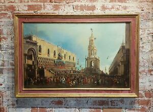 Canaletto School-Doge Palace Festival in Venice-18th century Oil painting