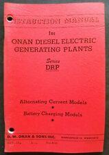 Onan Diesel Electric Generating Plants Drp Series Operating Instruction Manual