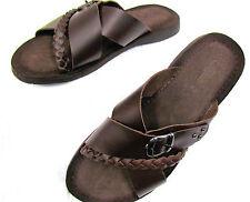 NUEVO marcas Hombre Sandalia Cuero natural marrón velurleder Suela Talla 43
