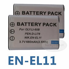 2X Battery For Pentax OPTIO W80 DLI78 D-LI78 EN-EL11 D-L178 W60 M50 V20 EN-EL11