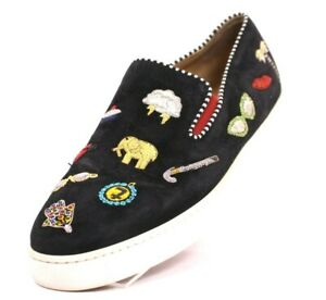 CHRISTIAN LOUBOUTIN $995 Black Embroidered Suede MISS ACADEMY Sneakers 39
