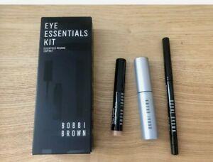 Bobbi Brown Eye Essentials Kit 3pc Smokey Mascara Gel Eyeliner Shadow Stick NEW