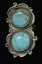 Long Turquoise Ring Vintage Southwest Sterling Silver Women Boho Ring Size 6.25