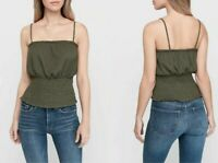 NWT $40 Express Smocked Waist Tank Olive Green Top Cami Womens Large L 2702X