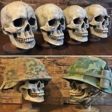 SKULL HELMET DISPLAY STAND - U.S. - GERMAN - WWII - VIETNAM - USMC - HAT